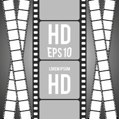 Set of movie design. film strip isolated on transparent background. vector illustration