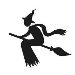 Witch on broom simple icon