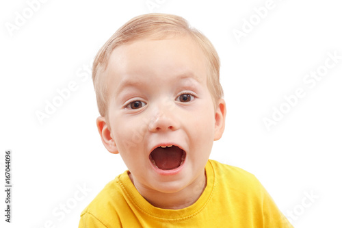 portrait of a little boy screaming out loud isolated on white stock
