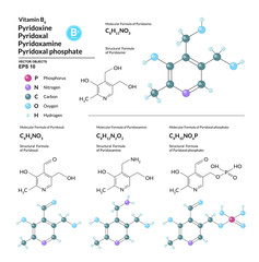 Structural chemical molecular formula and model of Vitamin B6. Atoms are represented as spheres with color coding isolated on background. 2d, 3d visualization and skeletal formula. Vector illustration