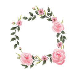 Vector flowers set. Beautiful wreath.
