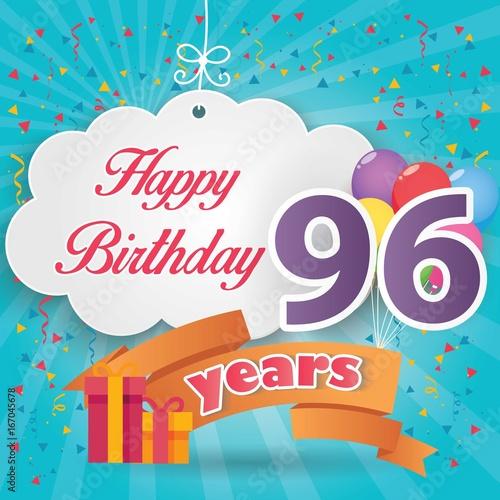 96 th birthday celebration greeting card origami paper art design