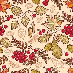 Seamless pattern. Autumn Deciduous ornament.