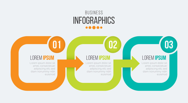 Vector 3 steps timeline infographic template with arrows