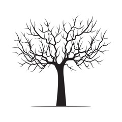 Black Winter Tree. Vector Illustration.