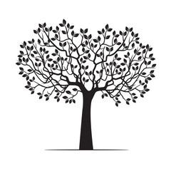 White Tree with Leaves. Vector Illustration.