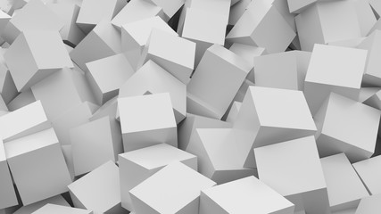 White cubes background. 3D Rendering.