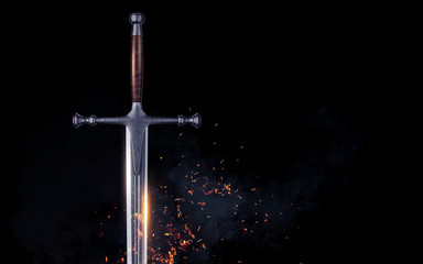 Metal sword on a dark background with clouds. 3d render