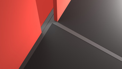 Abstract black and red background. 3D Rendering.