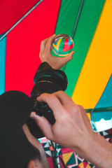 Photographer holding up crystal ball