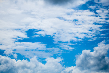 Blue sky with white clouds abstract background on nature
