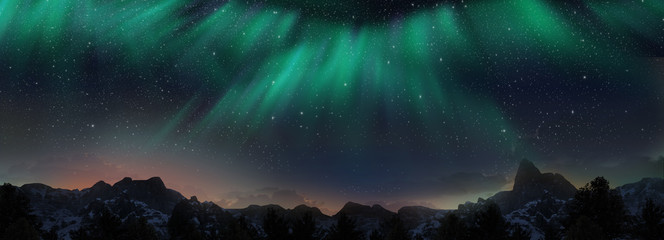 Photo sur Aluminium Aurore polaire A beautiful green and red aurora dancing over the hills