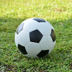 Football or soccer ball on the lawn with green grass background,outdoor activities.