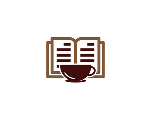 Book Coffee Icon Logo Design Element