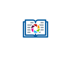Book Camera Icon Logo Design Element