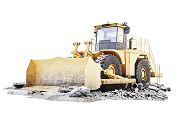 Bulldozer on a building construction site with debris .White background 3d rendering