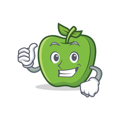 Thumbs up green apple character cartoon