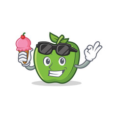 green apple character cartoon with ice cream