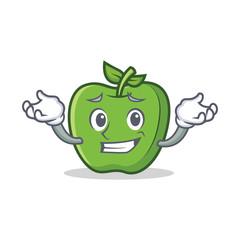 Grinning green apple character cartoon