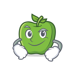 Smirking green apple character cartoon