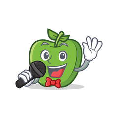Karaoke green apple character cartoon