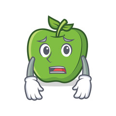 Afraid green apple character cartoon
