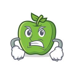 Angry green apple character cartoon