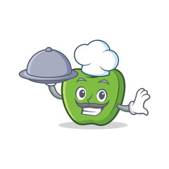 Chef with food green apple character cartoon
