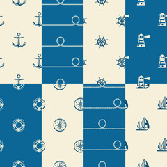 Nautical background collection, seamless white blue pattern.