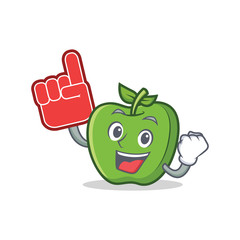 Foam finger green apple character cartoon
