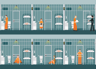 Rows of prison cells with life in jail.