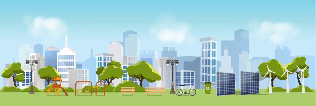 Green eco city and life , relax garden,urban landscape and industrial factory buildings concept.vector illustration