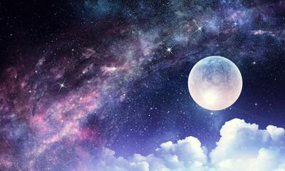 Starry sky and moon. Mixed media