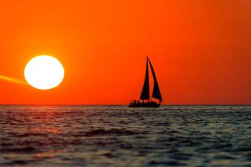 Wall Mural - Ocean Sunset Sailboat Sailing Silhouette