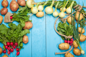 Fresh vegetables on a blue background