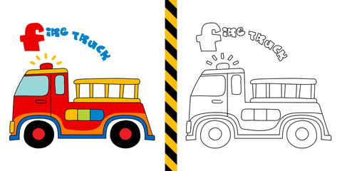 fire truck - vector illustration for coloring page - for children.