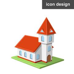Vector icon of catholic castle church