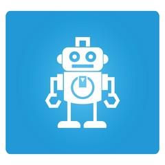 robot cartoon in blue background
