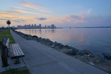 view from Harbor Island towards downtown San Diego