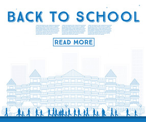 Outline Back to School. Banner with School Bus, Building and Students.