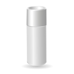 Vector mock-up of empty and clean white glossy metal spray bottle with cap. Template 3d plastic container for branding, advertising. Blank package isolated on transparent background.