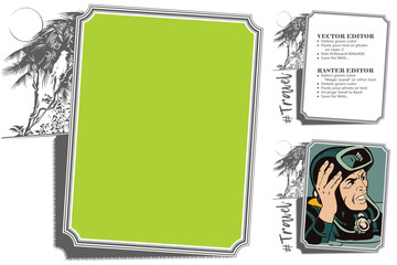 Tropical Jungle. Frame for scrapbook, banner, sticker, social network.