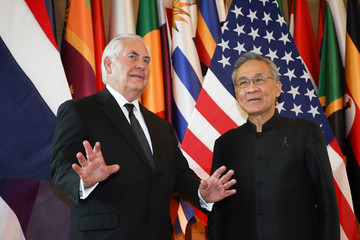Tillerson and Thailand's FM Pramudwinai arrive at the Ministry of Foreign Affairs in Bangkok
