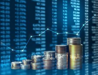 Coins graph stock market