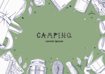 Top View of Camping Stuff on Green Background, Backpacker Stuff, hand draw style