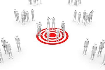 Target group conceptual white background 3d illustration