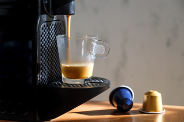 Espresso preparation. Coffee machine