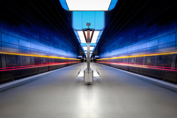 Long exposure of a modern underground station