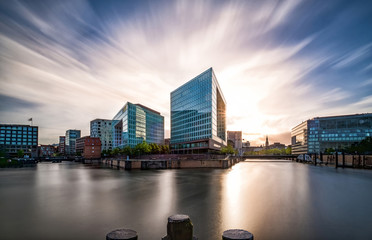 Business buildings in the Hamburg Hafencity at sunset