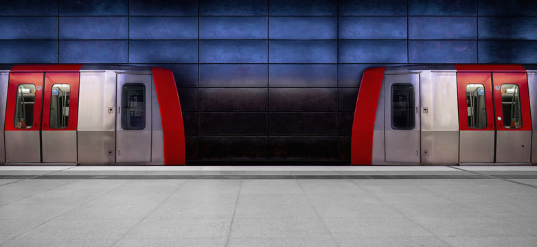 Facing trains in a modern underground station